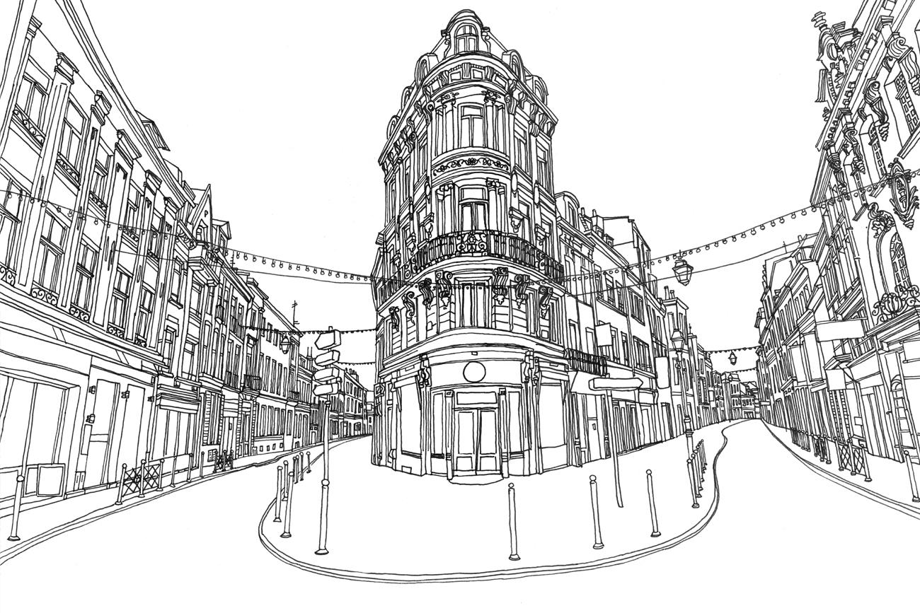 Illustration RP carrées Rue esquermoise anais defever graphiste freelance lille